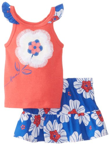 Watch Me Grow! By Sesame Street Baby-Girls Newborn 2 Piece Floral Scooter Set, Orange, 6-9 Months front-163241