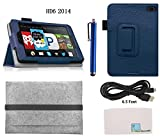 Llamamia Folio Flip PU Leather Case Cover for Kindle Fire HD 6 Inch (2014 Oct Release) + 6.5 Feet USB Cable + Wool Felt Sleeve Bag + Stylus Pen + Cleaning Cloth (Dark blue)