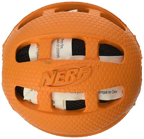 "Nerf Dog Toys Checker Crunchable Ball, 2.5"", Orange/Blue - 1"