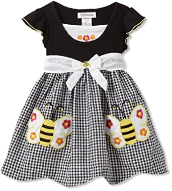 Youngland Girls 2-6X Mock Cardigan Bumble Bee Seersucker Sundress, Black, 5