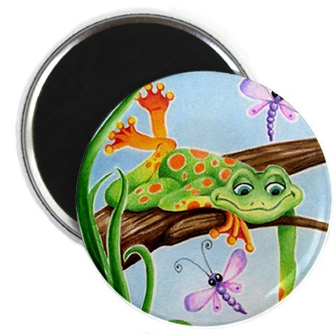 Hanging Frog With Dragonflies Original Art 2.25 Inch Fridge Magnet