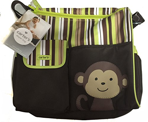 Carter's Diaper Bag Tote- Monkey with Brown/green Stripes
