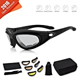 Freehawk® Motorcycle Glasses/Bike Bicycle Cycling Glasses/Outdoor Tactical Goggles/Dust-Proof Windproof Goggles/Protective Riding Goggles/Adjustable Eyeglasses Goggles for Both Men and Women Sports