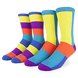 Funky Socks Men\'s 2-Pack Colorful Patterned Crew Socks (Beach Ball Color Block)