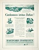 1942 Ad Hartford Insurance World War II U-BoatWWII Carelessness Wartime Fire - Original Print Ad