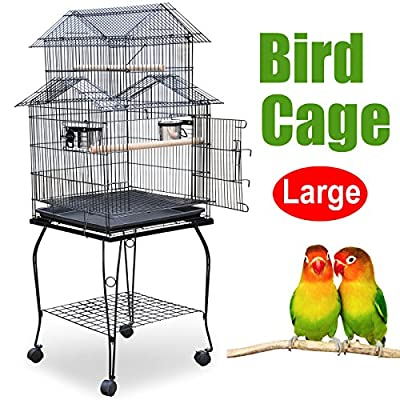 Popamazing 52cm x 52cm x 155cm Pet Bird Budgie Canary Aviary African Grey Cockatiels African Macaw Parakeet Budgie Open Top Perches Stand Cage Parrot Cage