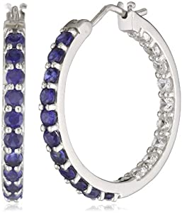 Sterling Silver Created Blue and White Sapphire Hoop Earrings