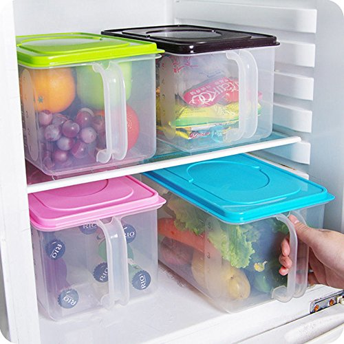Airtight Containers airtight container for flour and sugar Kitchen Food Crisper Food Container Box Refrigerator Storage Box with Handle storage containers airtight container for weed Random Color 1pcs (Locking Sugar Container compare prices)