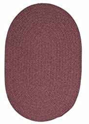 Solid Braided Wool Area Rug 3ft. x 5ft. Oval Dark Plum Simple Soft Carpet