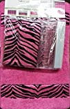 Zebra Pink & Black Luxury 14-Piece Bathroom Set: Shower Curtain, Bath Mat, Resin Hooks + Bonus Liner