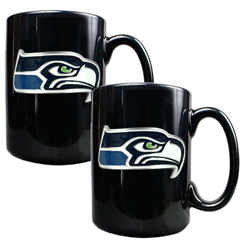 NFL Seattle Seahawks Two Piece Black Ceramic Mug Set - Primary Logo at Amazon.com