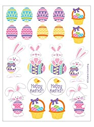 Creative Converting 44523 4 Sheets Of Happy Easter Bunnies And Easter Eggs Stickers, Multicolor