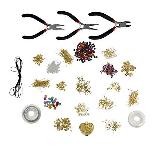1000 Piece Deluxe Large Jewelry Making Starter Kit- Pliers, Findings, Beads, Cord, Tiger Tail, Gold Plated Accessories by Kurtzy TM