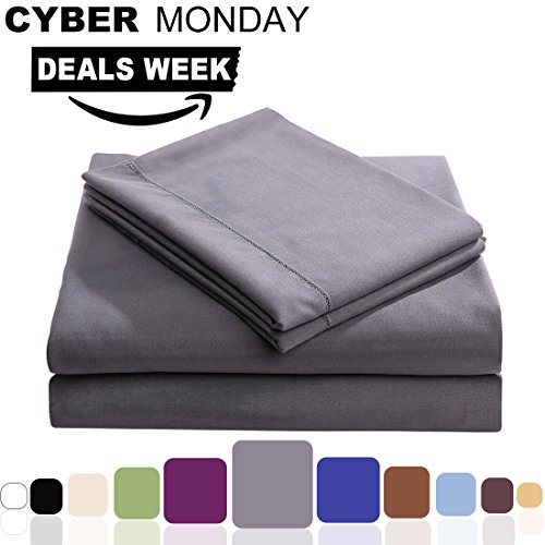 Balichun Microfiber 4-Piece Bed Sheet Set with 18-Inch Deep Pocket, Twin XL, Dark Grey (Flannel Sheets Twin Xl compare prices)