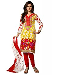 Multi Cotton Resham With Patch Patti Dress Material - B00U2GI1QC