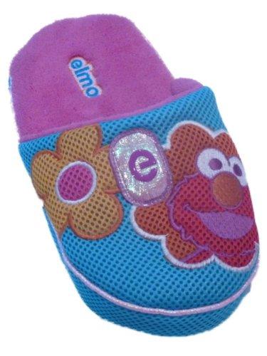 Cheap Sesame Street Womens Blue Elmo Slippers Slide On Open Back House Shoes (B00904QDYO)