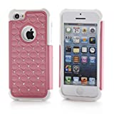 XYUN 2-Pieces Colorful Deluxe Light Bling Case Cover for Apple Iphone 5C (pink)