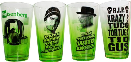 Breaking Bad 4 Piece Green Pint Glass Set