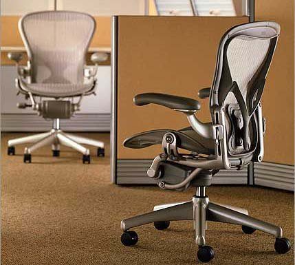 Aeron Chair by Herman Miller - Home Office Desk Task Chair Fully Loaded Highly Adjustable Medium Size (B) - PostureFit Lumbar Back Support Cushion Titanium Smoke Frame Classic Quartz Pellicle