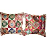 2 Multi Red Vintage Silk Sari Toss Pillow Cushion Coversby Mogulinterior