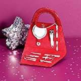 BEAUTIFUL LADIES GIRLS NAILS MANICURE GIFT SET IN RED HANDBAG