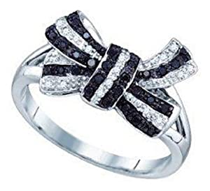 Pricegems 10K White Gold Ladies Black and White Natural Round Brilliant Diamond Fancy Pave Set 'Classics' Bow Split Shank Engagement Wedding Promise Ring (0.21 cttw, Opaque Clarity, Ring Size: 5.5)