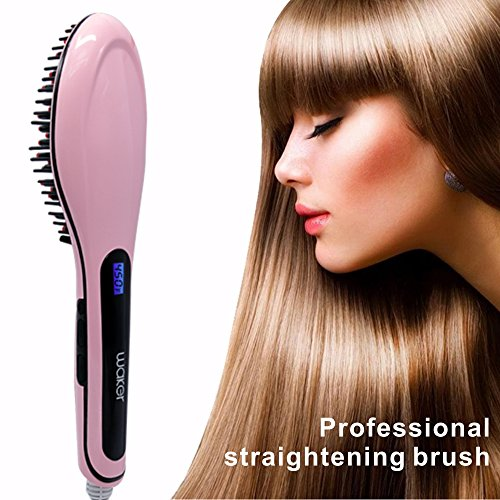 Waker Hair Straightener Brush for Anion Hair Care Anti-static Anti-scald Heating Detangling Brush Massage Straightening Iron with LCD Display (Steam Heat Hair Rollers compare prices)