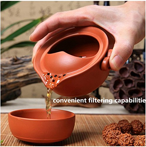 One Teapot One Teacup Zisha Clay Protable Office /Travel Tea Set with Case and Clip