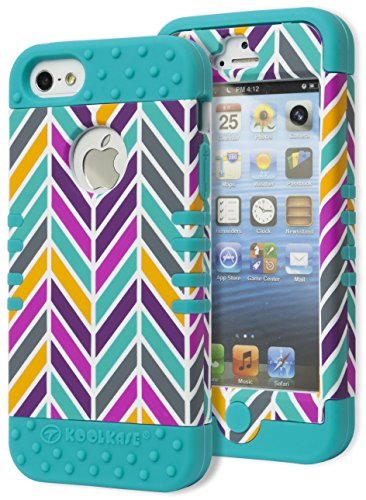 Iphone 5 Case, Bastex Heavy Duty Hybrid Protective Case - Soft Neon Blue Silicone Cover With Purple Blue Yellow And Grey Fishtail Design Shell Case For Apple Iphone 5, 5S, 5Gs