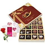 Valentine Chocholik's Belgium Chocolates - Love Delight Of Dark And Milk Chocolate Box With Love Card And Rose