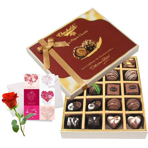 Love Delight Of Dark And Milk Chocolate Box With Love Card And Rose - Chocholik Belgium Chocolates