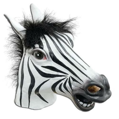 [Signstek Horror Scary Zebra Horse Head Mask for Halloween Cosplay Costume Party] (Monkey See Monkey Do Costume)