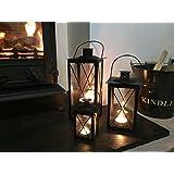 Cavendish Candle Lanterns (Set of 3) - Black