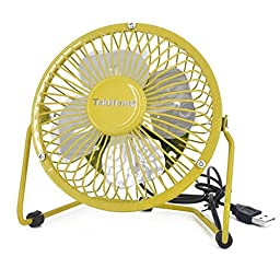 TekHome Mini 5-inch USB Table Personal Fan, Strong Wind w/ Quiet Operation, 360 Rotation Flexible Placement, Ultralight Metal Design, 3.3ft USB Cable Powered, Make You Cool As A Cucumber.(Yellow)