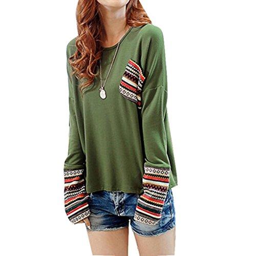 Koly _Maniche lunghe girocollo shirt da donna (S, Verde)
