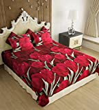Home Candy Elegant Floral  3-D Reactive Print Double Bedsheet with 2 Pillow Covers - Multicolor (SRB-BST-321)