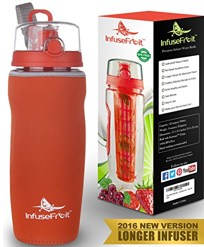 Infuser Water Bottle with Full Length Infusion Rod and Insulating Sleeve + 25 Fruit Infused Water Recipes eBook Gift - Large 32 Oz Sport Bottle - Your Healthy Hydration Made Easy - Tango RED (Awesome Jar compare prices)