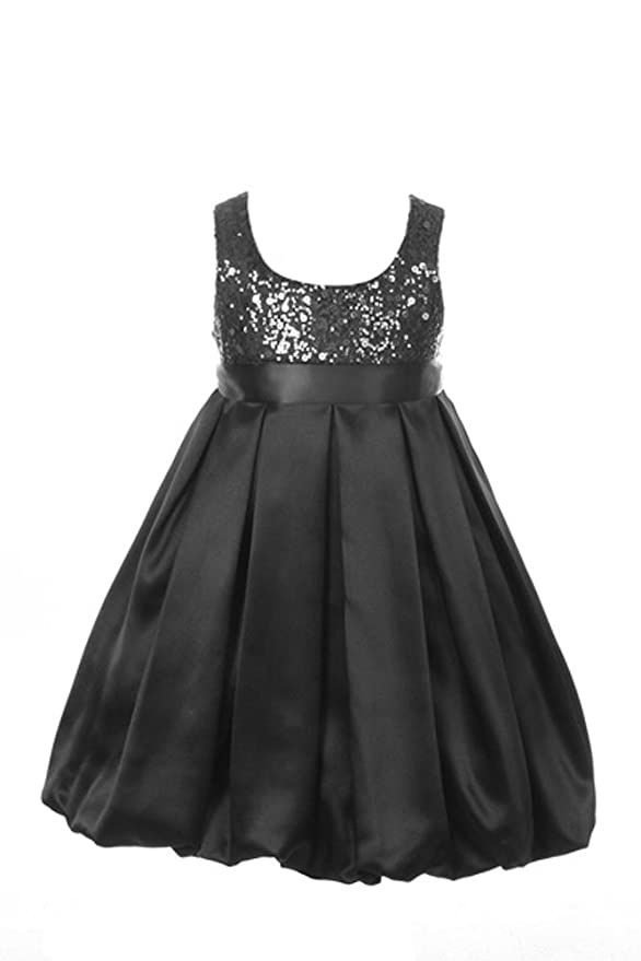 Satin Bubble Sequin Bodice Special Occasion Holiday Flower Girl Dress