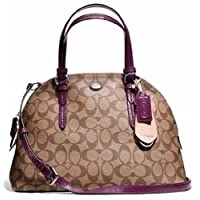 Coach 24606 Peyton Signature Cora Domed Satchel Khaki & Plum