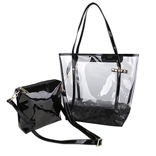 Zicac-Damen-Handbag-2-Taschen-Fashion-Freizeit-Sandstrand-Handtasche-Durchsichtig-Handbag-Schwarz