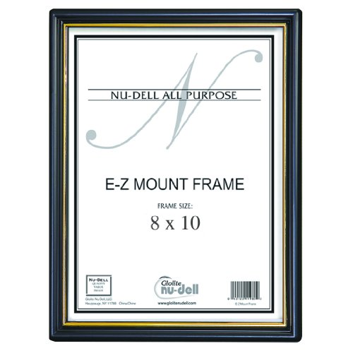 "8"" X 10"" Ez Mount Document Frame Glass Face, Black W/ Gold Trim front-885834"