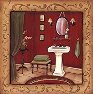 Red Bathroom Sink - Poster by Kim Lewis (12 x 12)