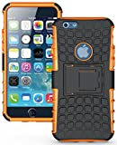 Heartly Flip Kick Stand Spider Hard Dual Armor Hybrid Bumper Back Case Cover For Apple iPhone 6 4.7 inch / Apple iPhone 6S 4.7 inch - Mobile Orange