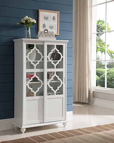 Kings Brand Furniture Curio Bookcase Cabinet with Glass Doors (White) (Cabinet With Glass Doors White compare prices)