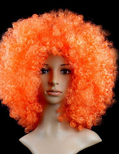 Wigs have an attractive convenience fashion Black Afro Wig Fans Bulkness Cosplay Christmas Halloween Wig Orange (Halloween Store In Orange County)