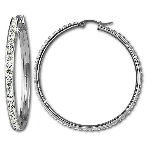 Amello ESOS05W - Orecchini a cerchio in acciaio inossidabile con elementi Swarovski, colore: bianco, diametro 50 mm, da donna, stile creolo
