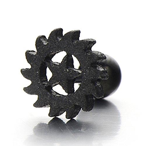 pair black satin saw blades star stud earrings for men for