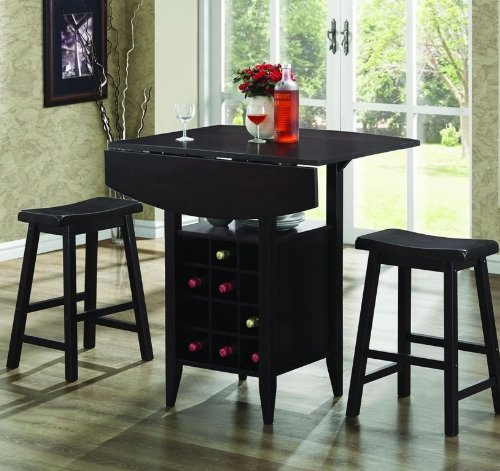 3pc Counter Height Dining Set with Build-In Wine Rack in Dark Cappuccino Finish