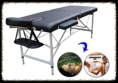 Aluminum Portable Massage Table Bed Salon Tattoo W/Carrying Case -- Black (Includes FREE Massage DVD And Soothing Sounds CD - ProA5-5