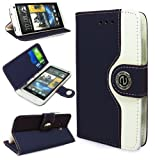 Magic Global Gadgets - Navy Retro Leather Flip Book Wallet Case Cover Pouch For HTC One M7 (2013 Version) With Media Stand For With Screen Guard / Cleaning Cloth / Mini Stylus